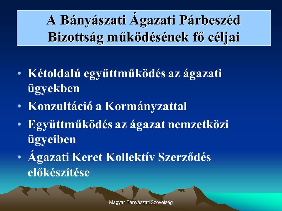 Magyar Bányászati Szövetség A Bányászati Ágazati Párbeszéd Bizottság működésének fő céljai Kétoldalú együttműködés az ágazati ügyekben Konzultáció a Kormányzattal Együttműködés az ágazat nemzetközi ügyeiben Ágazati Keret Kollektív Szerződés előkészítése