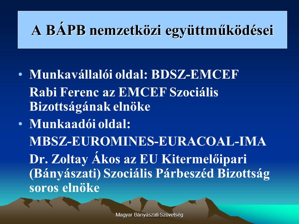 Magyar Bányászati Szövetség A BÁPB nemzetközi együttműködései Munkavállalói oldal: BDSZ-EMCEF Rabi Ferenc az EMCEF Szociális Bizottságának elnöke Munkaadói oldal: MBSZ-EUROMINES-EURACOAL-IMA Dr.