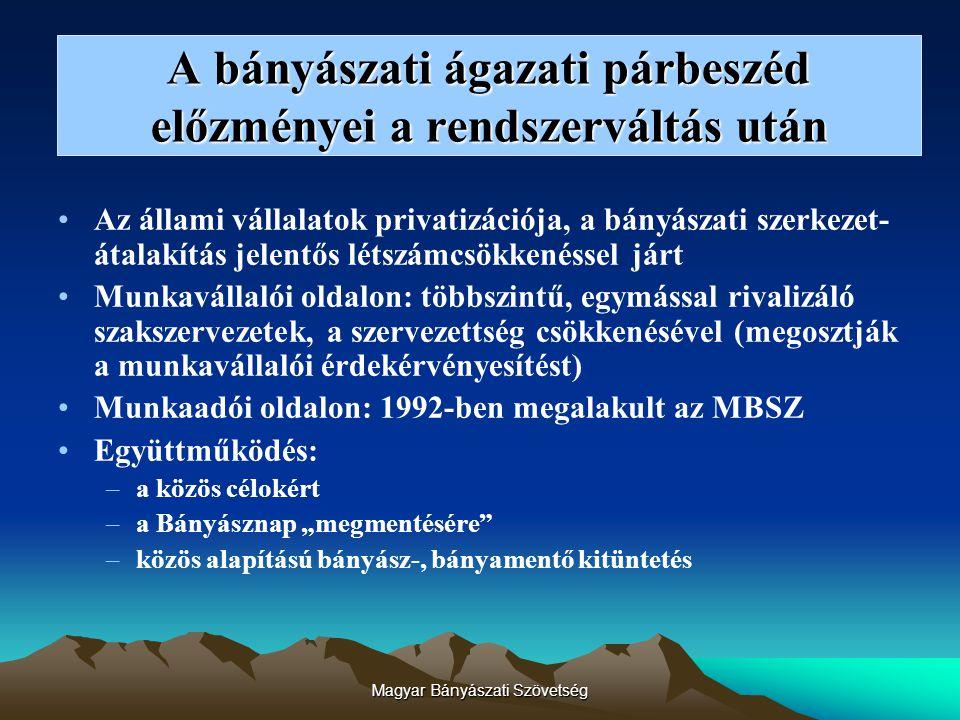 Magyar Bányászati Szövetség Az MBSZ tagságának növekedése 1992-2006-ig