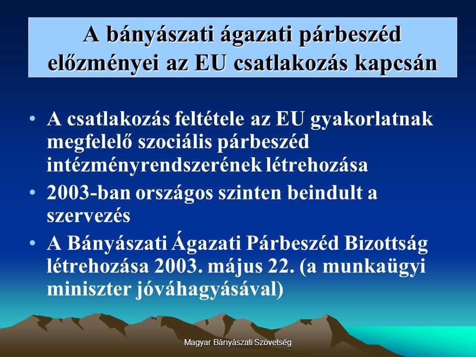 Magyar Bányászati Szövetség A bányászati ágazati párbeszéd előzményei az EU csatlakozás kapcsán A csatlakozás feltétele az EU gyakorlatnak megfelelő szociális párbeszéd intézményrendszerének létrehozása 2003-ban országos szinten beindult a szervezés A Bányászati Ágazati Párbeszéd Bizottság létrehozása 2003.