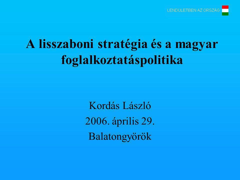 A lisszaboni stratégia és a magyar foglalkoztatáspolitika Kordás László 2006.