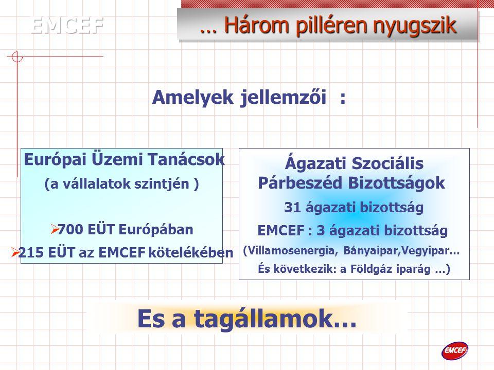 Ágazati Szociális Párbeszéd Bizottságok 31 ágazati bizottság EMCEF : 3 ágazati bizottság (Villamosenergia, Bányaipar,Vegyipar… És következik: a Földgáz iparág …) Amelyek jellemzői : Európai Üzemi Tanácsok (a vállalatok szintjén )  700 EÜT Európában  215 EÜT az EMCEF kötelékében … Három pilléren nyugszik Es a tagállamok…