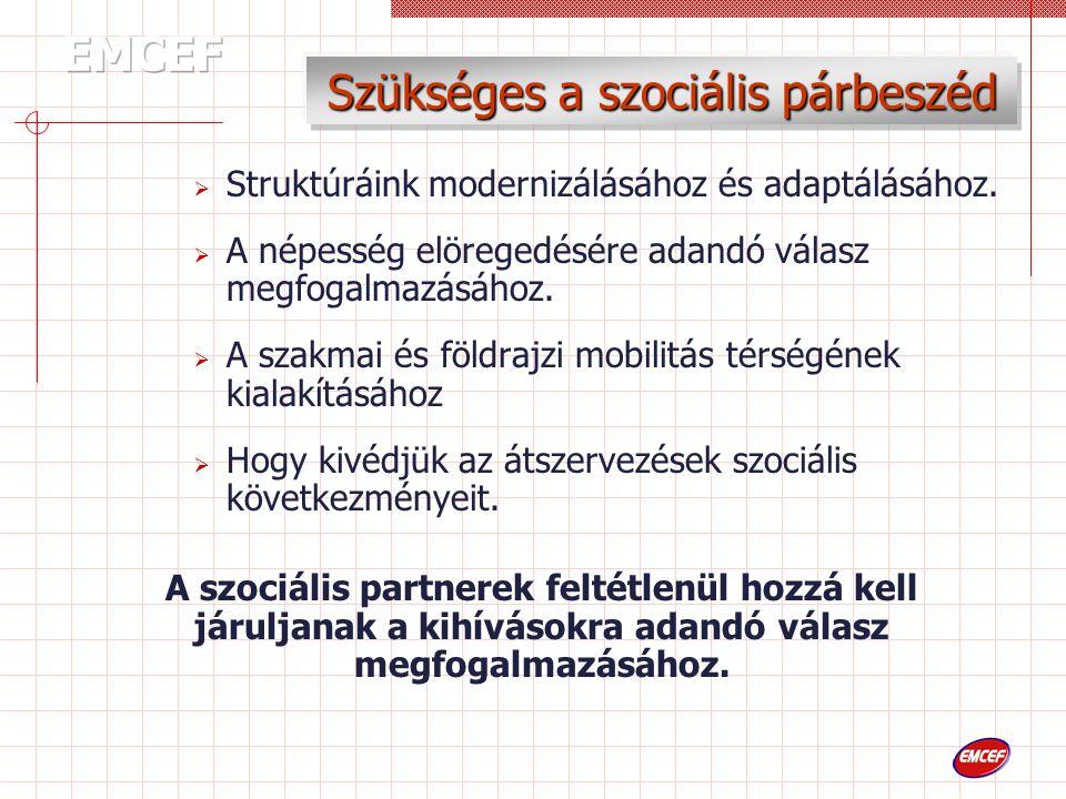 Szükséges a szociális párbeszéd  Struktúráink modernizálásához és adaptálásához.