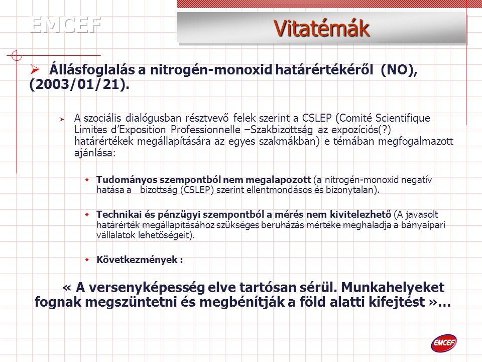 Vitatémák  Állásfoglalás a nitrogén-monoxid határértékéről (NO), (2003/01/21).