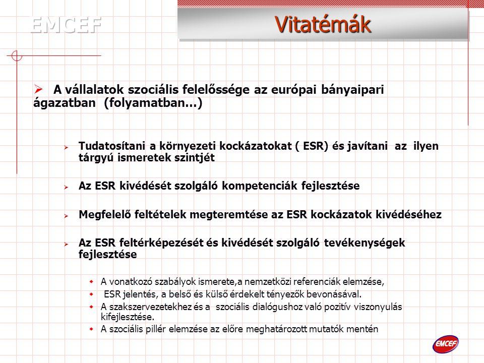 Vitatémák  A vállalatok szociális felelőssége az európai bányaipari ágazatban (folyamatban…)  Tudatosítani a környezeti kockázatokat ( ESR) és javítani az ilyen tárgyú ismeretek szintjét  Az ESR kivédését szolgáló kompetenciák fejlesztése  Megfelelő feltételek megteremtése az ESR kockázatok kivédéséhez  Az ESR feltérképezését és kivédését szolgáló tevékenységek fejlesztése  A vonatkozó szabályok ismerete,a nemzetközi referenciák elemzése,  ESR jelentés, a belső és külső érdekelt tényezők bevonásával.