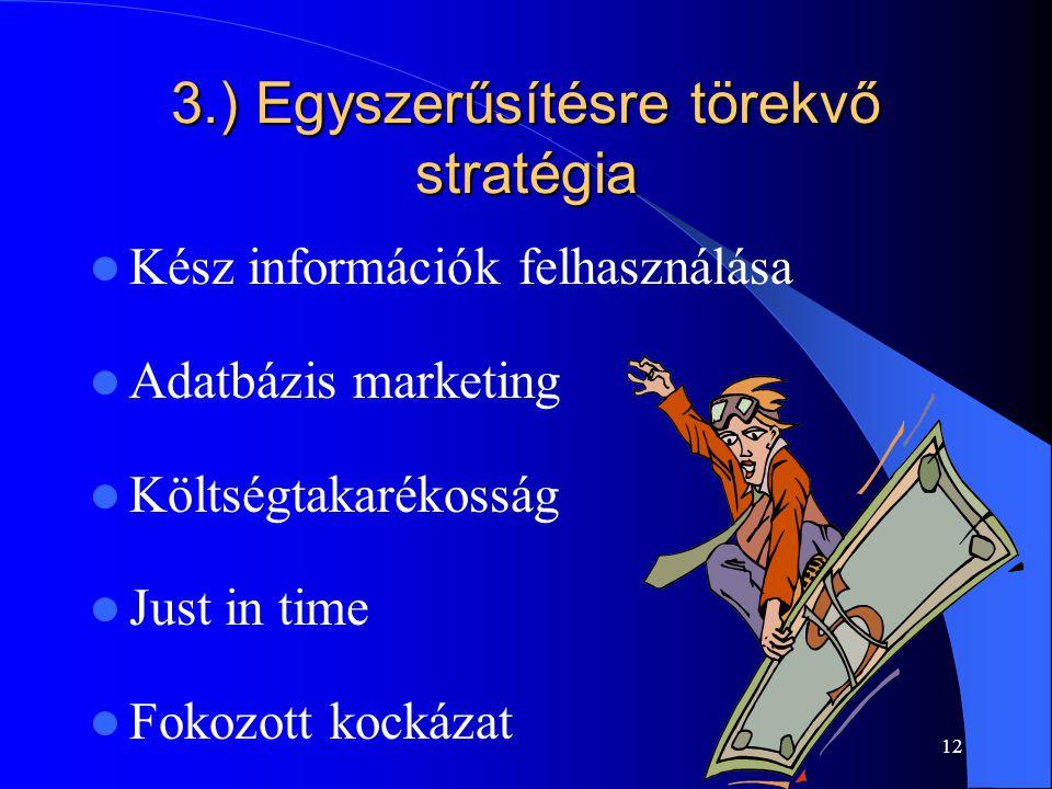 12 3.) Egyszerűsítésre törekvő stratégia Kész információk felhasználása Adatbázis marketing Költségtakarékosság Just in time Fokozott kockázat
