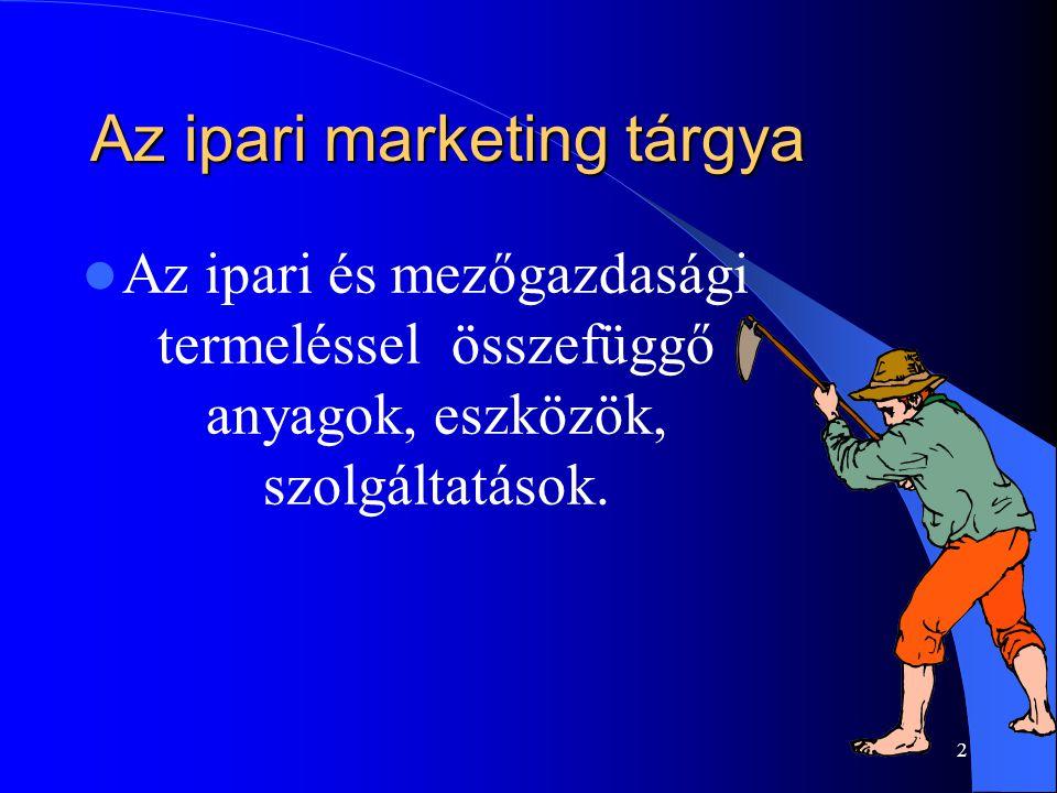 2 Az ipari marketing tárgya Az ipari és mezőgazdasági termeléssel összefüggő anyagok, eszközök, szolgáltatások.