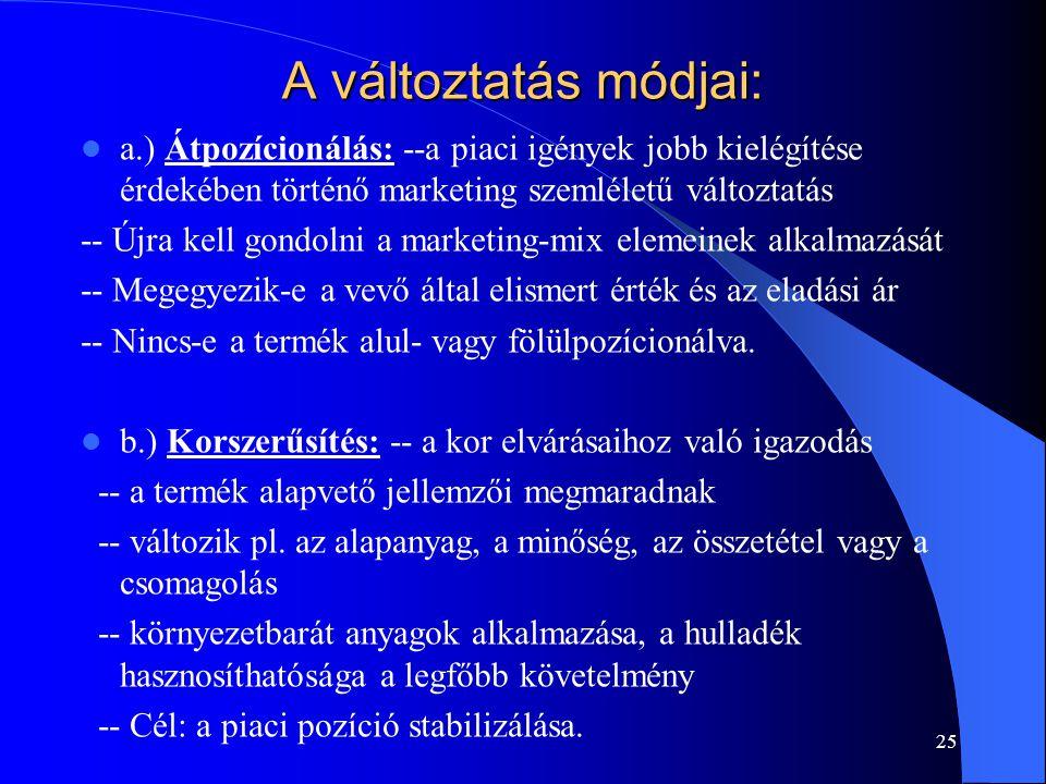 25 A változtatás módjai: a.) Átpozícionálás: --a piaci igények jobb kielégítése érdekében történő marketing szemléletű változtatás -- Újra kell gondol