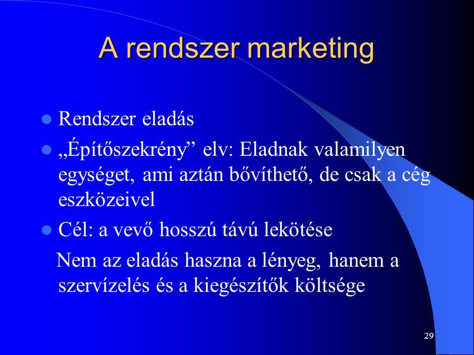 """29 A rendszer marketing Rendszer eladás """"Építőszekrény"""" elv: Eladnak valamilyen egységet, ami aztán bővíthető, de csak a cég eszközeivel Cél: a vevő h"""