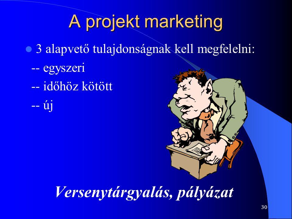30 A projekt marketing 3 alapvető tulajdonságnak kell megfelelni: -- egyszeri -- időhöz kötött -- új Versenytárgyalás, pályázat