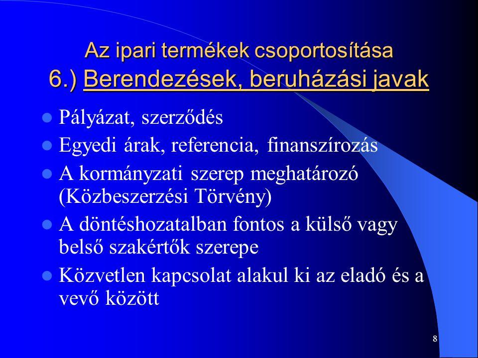 8 Az ipari termékek csoportosítása 6.) Berendezések, beruházási javak Pályázat, szerződés Egyedi árak, referencia, finanszírozás A kormányzati szerep