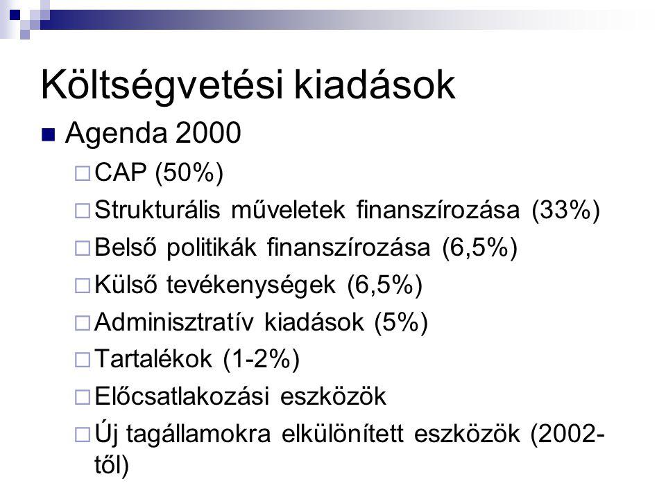 Költségvetési kiadások Agenda 2000  CAP (50%)  Strukturális műveletek finanszírozása (33%)  Belső politikák finanszírozása (6,5%)  Külső tevékenységek (6,5%)  Adminisztratív kiadások (5%)  Tartalékok (1-2%)  Előcsatlakozási eszközök  Új tagállamokra elkülönített eszközök (2002- től)