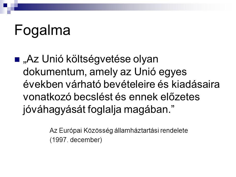 """Fogalma """"Az Unió költségvetése olyan dokumentum, amely az Unió egyes években várható bevételeire és kiadásaira vonatkozó becslést és ennek előzetes jóváhagyását foglalja magában. Az Európai Közösség államháztartási rendelete (1997."""