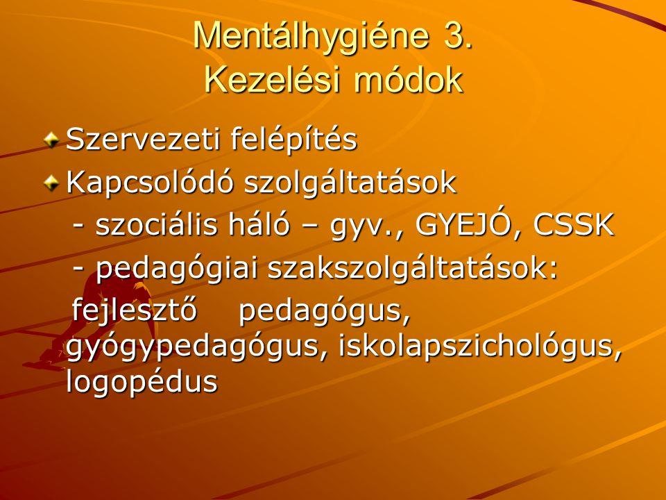 Mentálhygiéne 3. Kezelési módok Szervezeti felépítés Kapcsolódó szolgáltatások - szociális háló – gyv., GYEJÓ, CSSK - szociális háló – gyv., GYEJÓ, CS