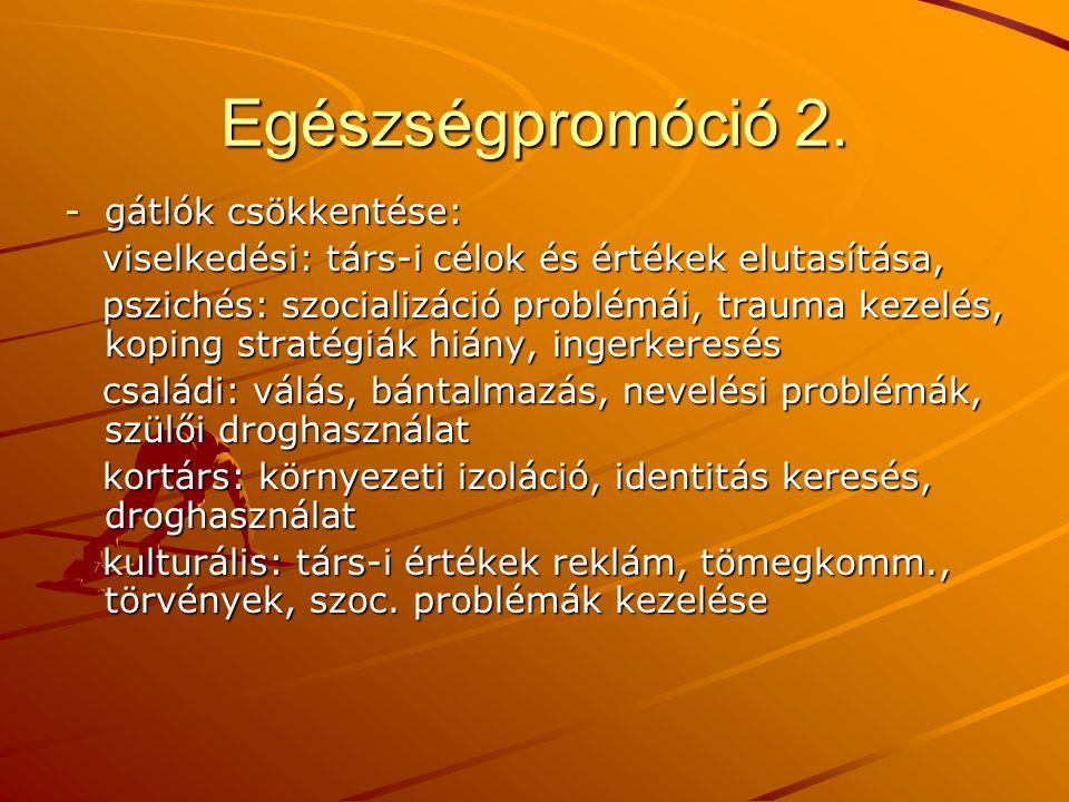 Egészségpromóció 2. -gátlók csökkentése: viselkedési: társ-i célok és értékek elutasítása, viselkedési: társ-i célok és értékek elutasítása, pszichés: