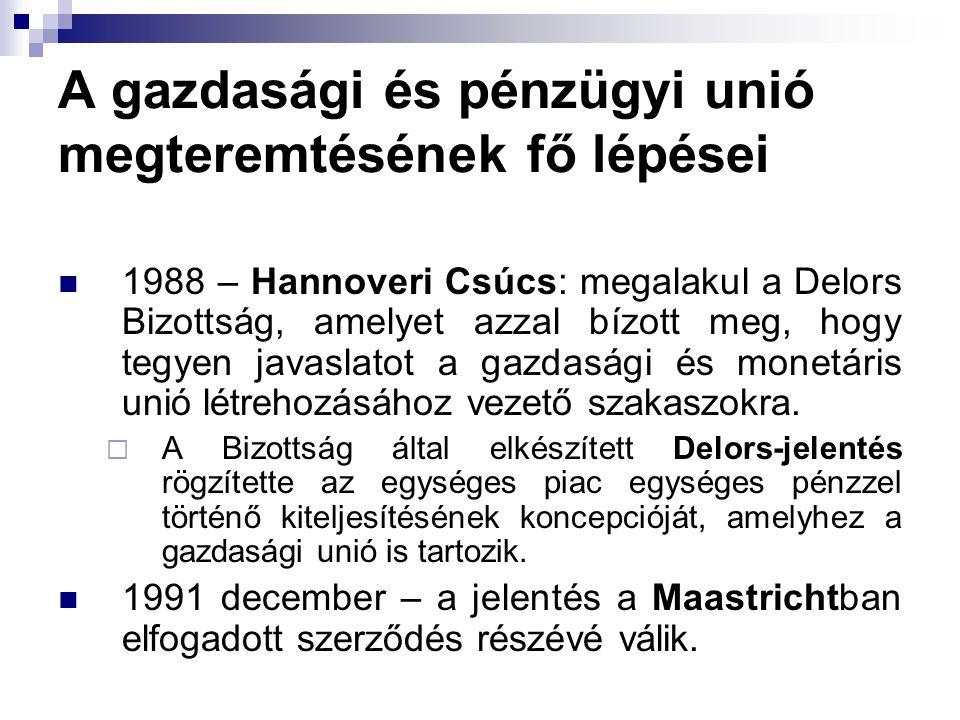 A gazdasági és pénzügyi unió megteremtésének fő lépései 1988 – Hannoveri Csúcs: megalakul a Delors Bizottság, amelyet azzal bízott meg, hogy tegyen javaslatot a gazdasági és monetáris unió létrehozásához vezető szakaszokra.