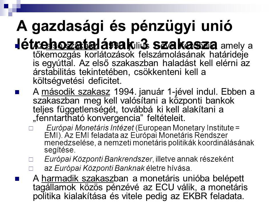 A gazdasági és pénzügyi unió létrehozatalának 3 szakasza Az első szakasz: 1990. július 1-ével kezdődik, amely a tőkemozgás korlátozások felszámolásána