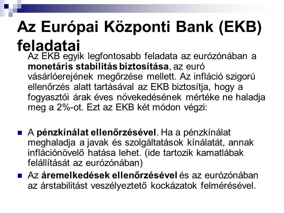 Az Európai Központi Bank (EKB) feladatai Az EKB egyik legfontosabb feladata az eurózónában a monetáris stabilitás biztosítása, az euró vásárlóerejének megőrzése mellett.