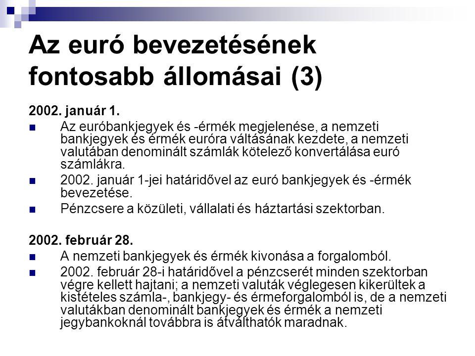 Az euró bevezetésének fontosabb állomásai (3) 2002. január 1. Az euróbankjegyek és -érmék megjelenése, a nemzeti bankjegyek és érmék euróra váltásának