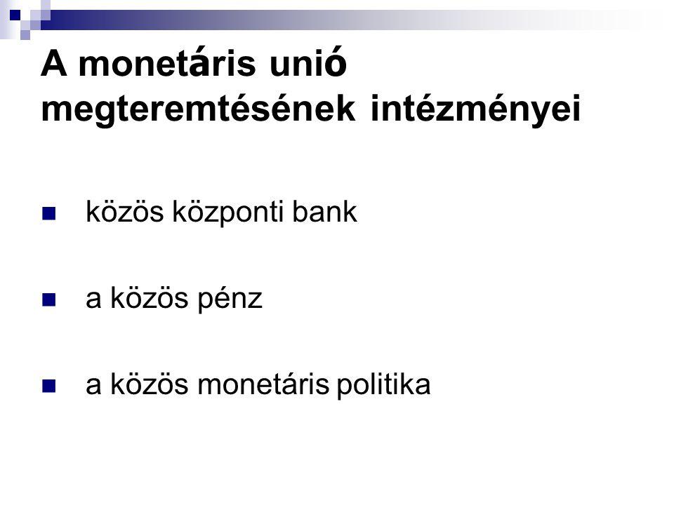 A monet á ris uni ó megteremtésének intézményei közös központi bank a közös pénz a közös monetáris politika