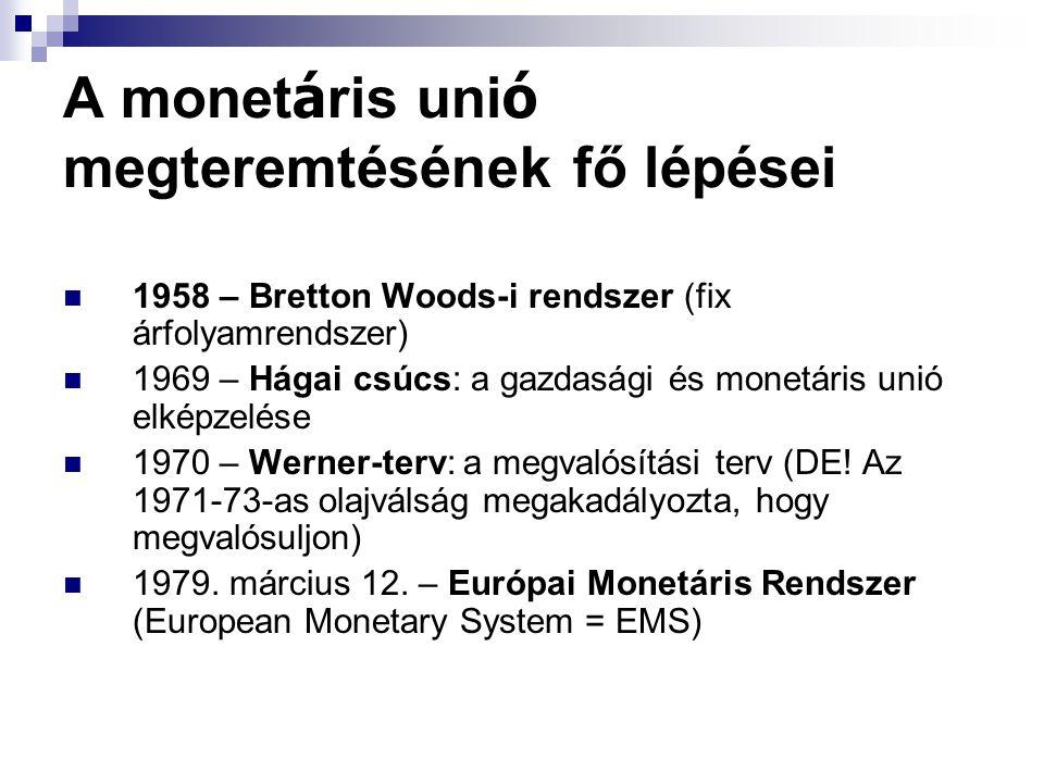 A monet á ris uni ó megteremtésének fő lépései 1958 – Bretton Woods-i rendszer (fix árfolyamrendszer) 1969 – Hágai csúcs: a gazdasági és monetáris unió elképzelése 1970 – Werner-terv: a megvalósítási terv (DE.