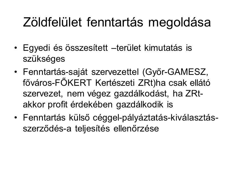 Zöldfelület fenntartás megoldása Egyedi és összesített –terület kimutatás is szükséges Fenntartás-saját szervezettel (Győr-GAMESZ, főváros-FŐKERT Kertészeti ZRt)ha csak ellátó szervezet, nem végez gazdálkodást, ha ZRt- akkor profit érdekében gazdálkodik is Fenntartás külső céggel-pályáztatás-kiválasztás- szerződés-a teljesítés ellenőrzése