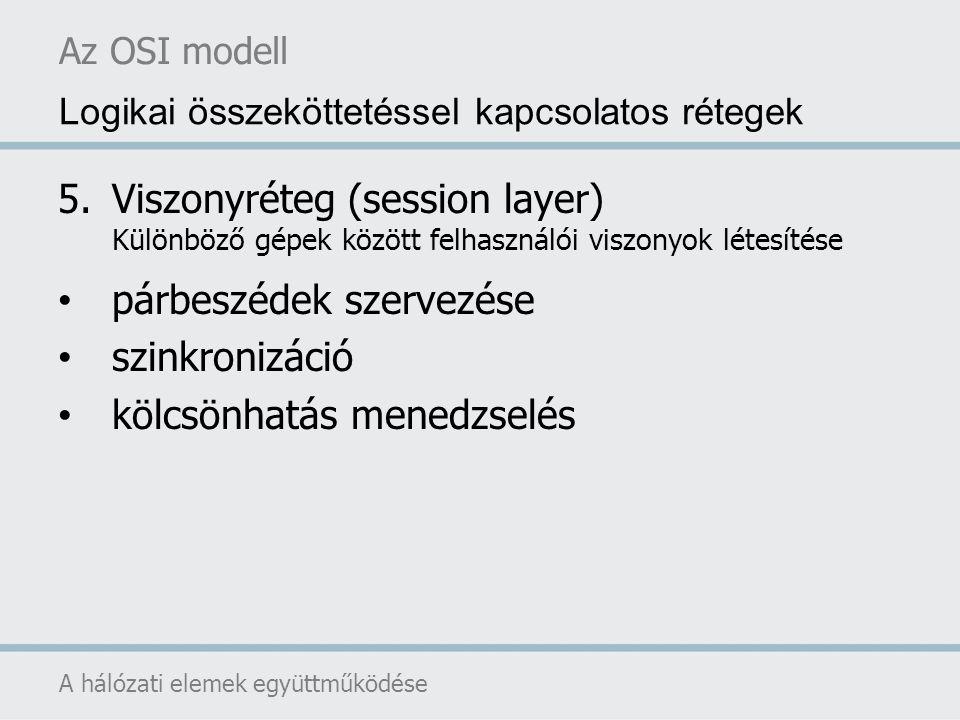 Az OSI modell A hálózati elemek együttműködése Logikai összeköttetéssel kapcsolatos rétegek 5.Viszonyréteg (session layer) Különböző gépek között felh