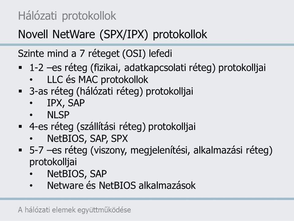 Hálózati protokollok A hálózati elemek együttműködése Szinte mind a 7 réteget (OSI) lefedi  1-2 –es réteg (fizikai, adatkapcsolati réteg) protokollja