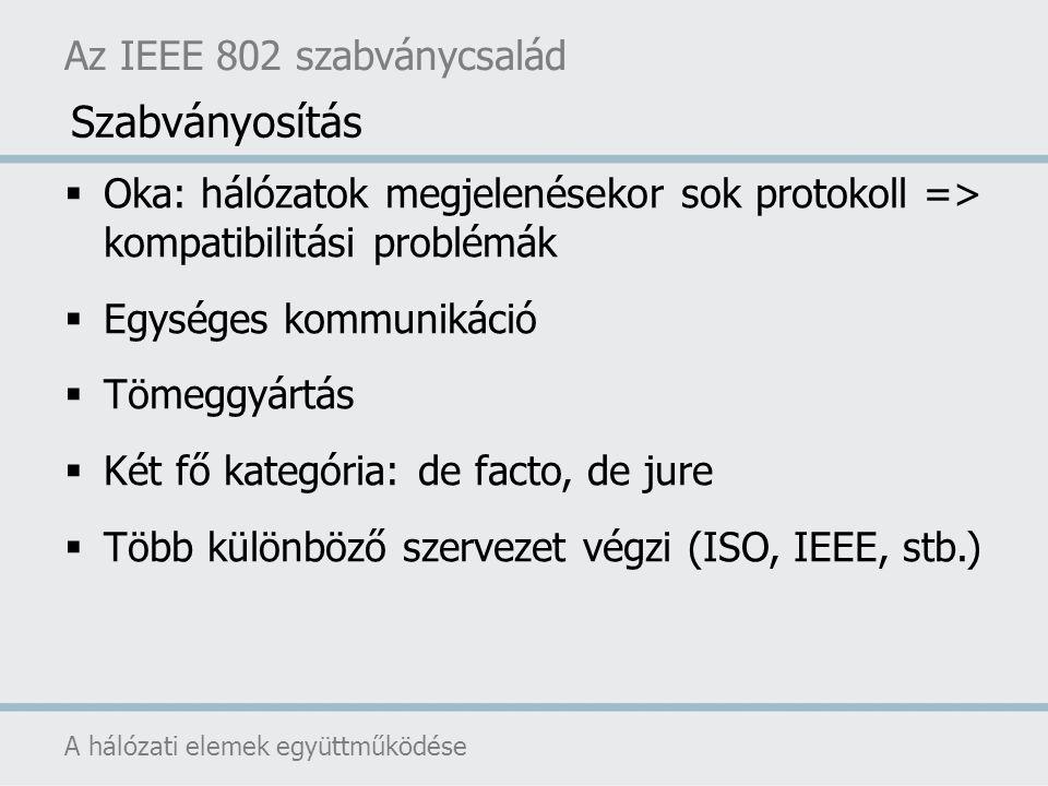 Az IEEE 802 szabványcsalád A hálózati elemek együttműködése  Oka: hálózatok megjelenésekor sok protokoll => kompatibilitási problémák  Egységes komm