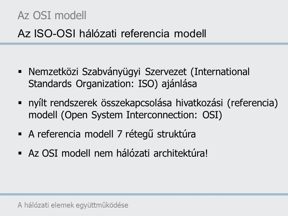 Az OSI modell hét rétegből áll A kialakításnál figyelembe vett alapelvek: A rétegek különböző absztrakciós szinteket képviseljenek Minden réteg jól definiált feladatot hajtson végre A rétegek feladatának megválasztásakor nemzetközileg elfogadott szabványok kialakítására kell törekedni A réteghatárok megválasztásakor a rétegek közti információcsere minimalizálására kell törekedni A rétegek számának megfelelően nagynak kell lennie ahhoz, hogy különböző feladatok ne kerüljenek szükségtelenül egy rétegbe Ugyanakkor elég kicsinek kell lennie ahhoz, hogy a szerkezet ne váljon nehezen kezelhetővé Az OSI modell A hálózati elemek együttműködése Az ISO-OSI rétegek kialakítása