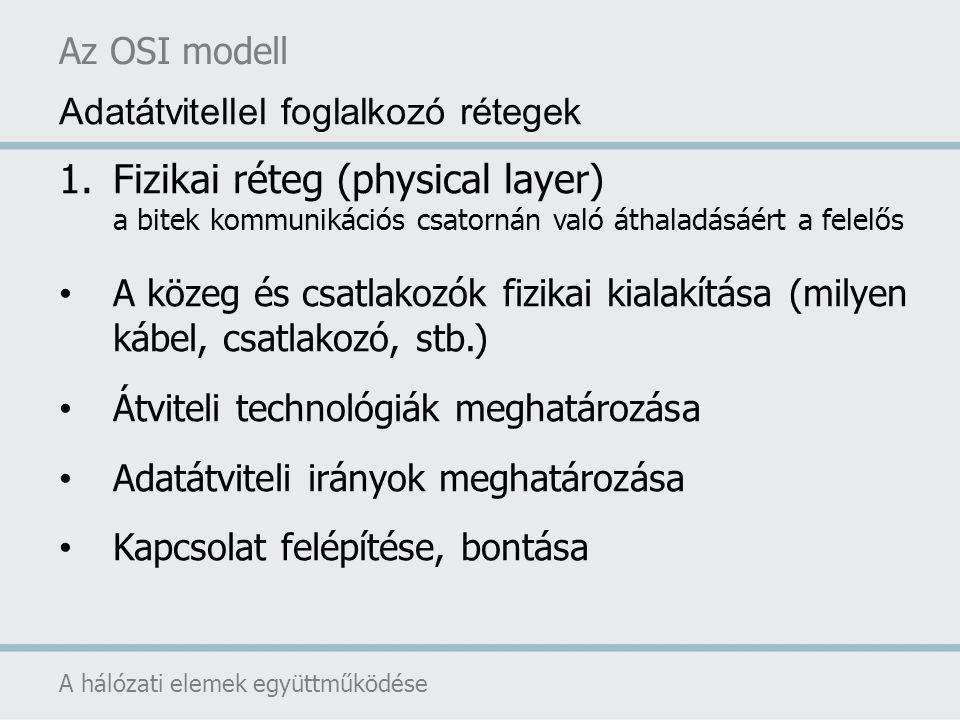 Az OSI modell A hálózati elemek együttműködése Adatátvitellel foglalkozó rétegek 2.Adatkapcsolati réteg (data link layer) A hálózati réteg számára hibamentes átvitelt biztosít Keretképzés és behatárolás Kerethibák kezelése (elveszett keretek újraadása, kettőzött keretek kivonása) Forgalom szabályozása Az A-B irányú adatkeret forgalom, valamint a B-A irányú nyugtakeret forgalom szabályozása, kezelése Adatkapcsolati protokollok szabályozása (szimplex, half-duplex, full- duplex) Közeg hozzáférési módszerek szabályozása (véletlen-, osztott-, központosított – átvitelvezérlés)