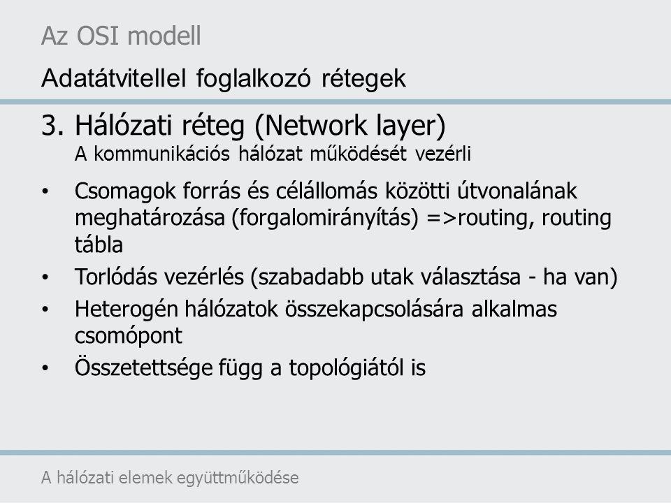 Az OSI modell A hálózati elemek együttműködése Adatátvitellel foglalkozó rétegek 4.Szállítási réteg (transport layer) Feladata a viszonyréteg üzeneteinek továbbítása Valódi forrás-cél (end-to-end) réteg Üzenetek tördelése illetve összeállítása Hibakezelés Adatáramlás vezérlés (multiplex, demultiplex)
