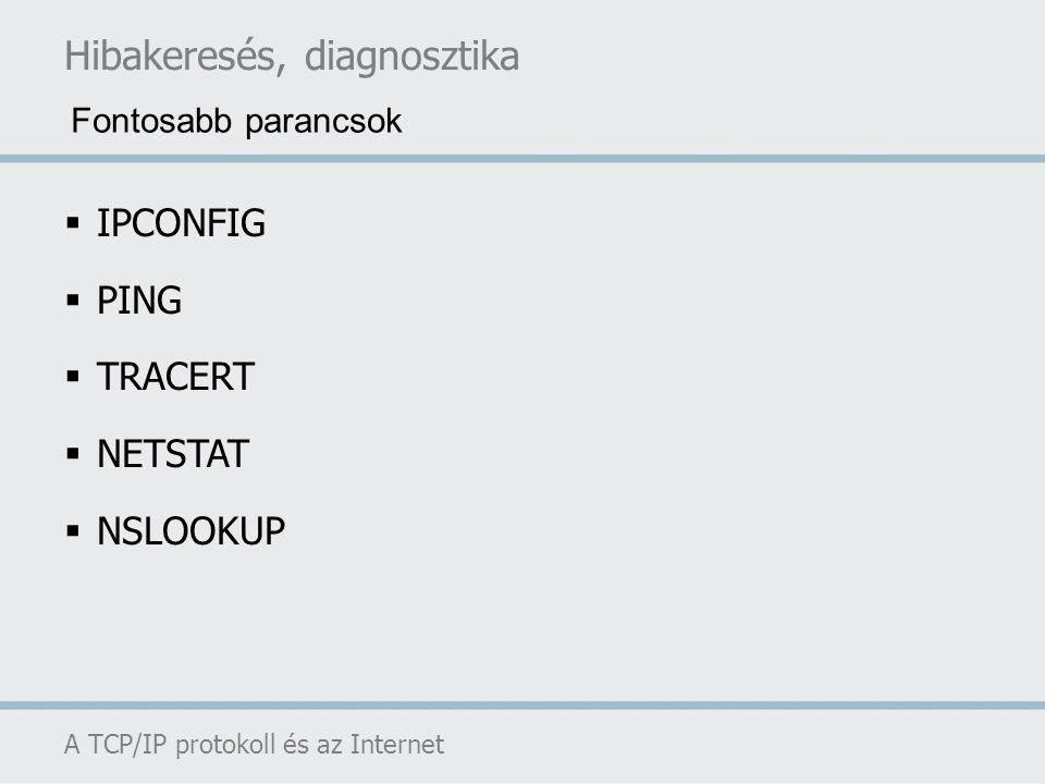 Hibakeresés, diagnosztika A TCP/IP protokoll és az Internet  IPCONFIG  PING  TRACERT  NETSTAT  NSLOOKUP Fontosabb parancsok