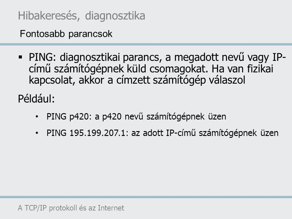 Hibakeresés, diagnosztika A TCP/IP protokoll és az Internet  PING: diagnosztikai parancs, a megadott nevű vagy IP- című számítógépnek küld csomagokat