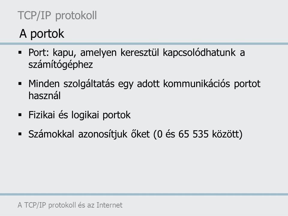 TCP/IP protokoll A TCP/IP protokoll és az Internet  Port: kapu, amelyen keresztül kapcsolódhatunk a számítógéphez  Minden szolgáltatás egy adott kom