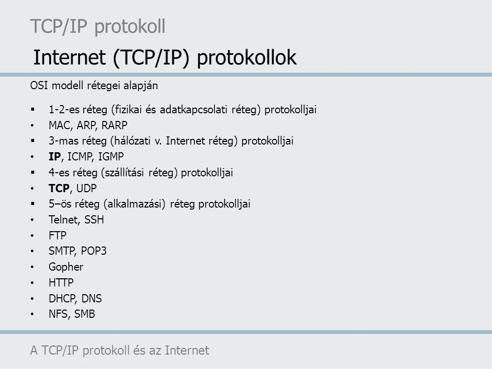 TCP/IP protokoll A TCP/IP protokoll és az Internet OSI modell rétegei alapján  1-2-es réteg (fizikai és adatkapcsolati réteg) protokolljai MAC, ARP,