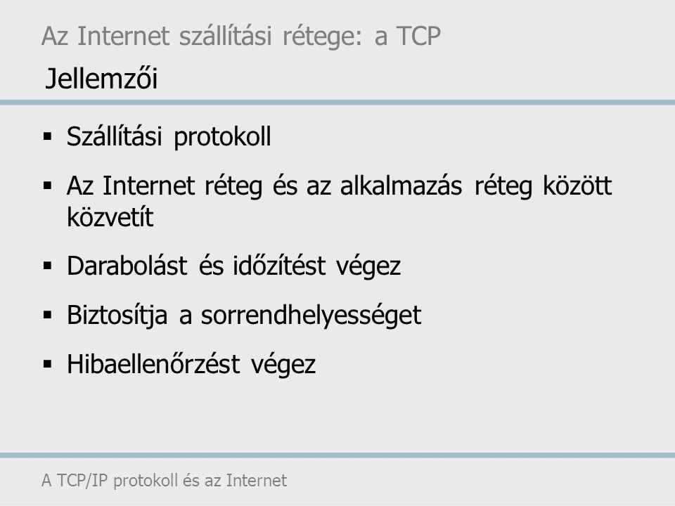 Az Internet szállítási rétege: a TCP A TCP/IP protokoll és az Internet  Szállítási protokoll  Az Internet réteg és az alkalmazás réteg között közvet