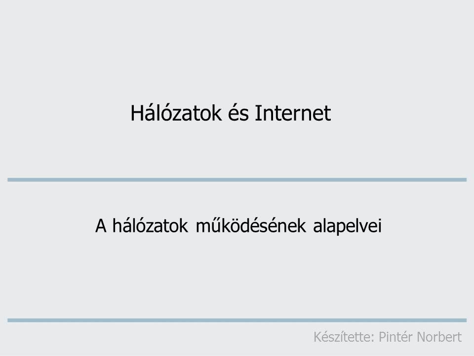 Hálózatok és Internet A hálózatok működésének alapelvei Készítette: Pintér Norbert