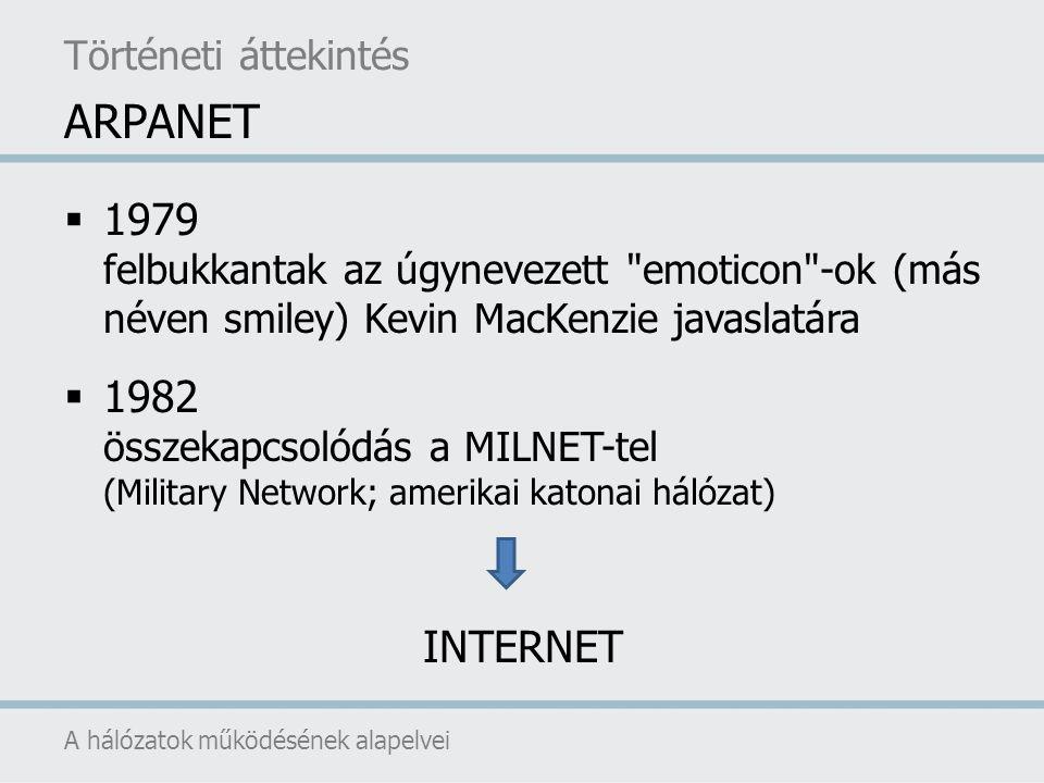  további hálózatok kapcsolódása MINET (a MILnet európai megfelelője) NFSNET (National Science Foundation Network) BITNET (Because It s Time Network; egyetemek közötti kommunikációt biztosító hálózat, eredetileg IBM nagyszámítógépeket kötött össze) EARN (European Academic Research Network) USENET (hírcsoportok, hirdetőtáblák elérését biztosító hálózat; eredetileg UNIX operációs rendszerű gépeket kötött össze) EUNet (hasonló célú, európai országokat összekötő hálózat)  1990: az ARPANET megszűnik A hálózatok működésének alapelvei Történeti áttekintés ARPANET