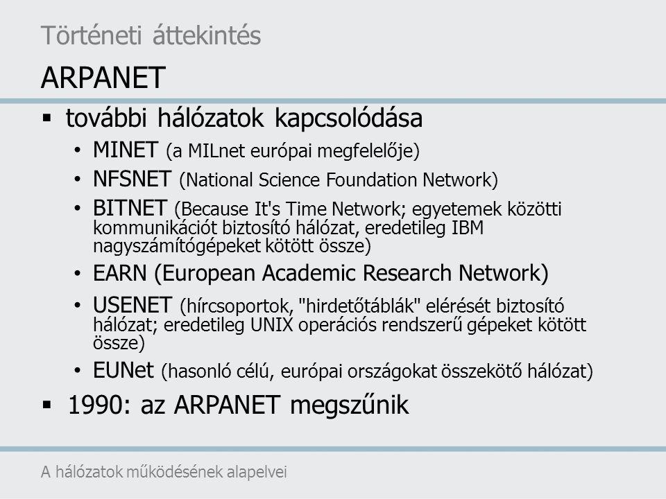  további hálózatok kapcsolódása MINET (a MILnet európai megfelelője) NFSNET (National Science Foundation Network) BITNET (Because It's Time Network;
