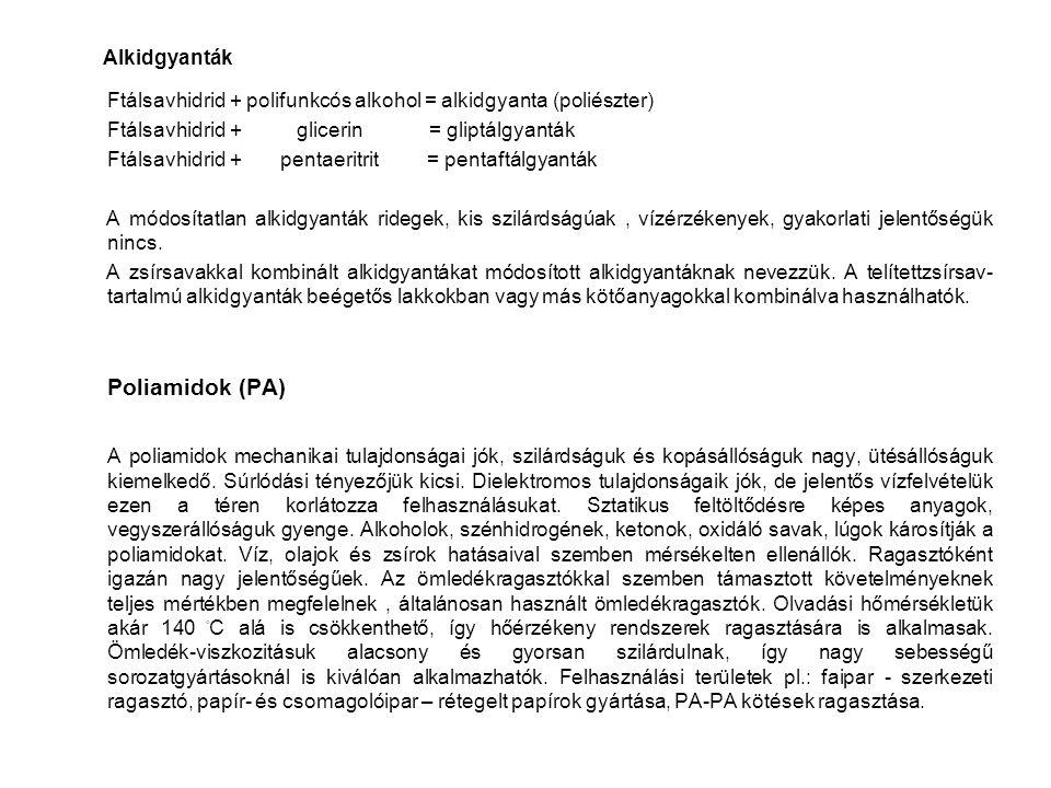 Alkidgyanták Ftálsavhidrid + polifunkcós alkohol = alkidgyanta (poliészter) Ftálsavhidrid + glicerin = gliptálgyanták Ftálsavhidrid + pentaeritrit = p