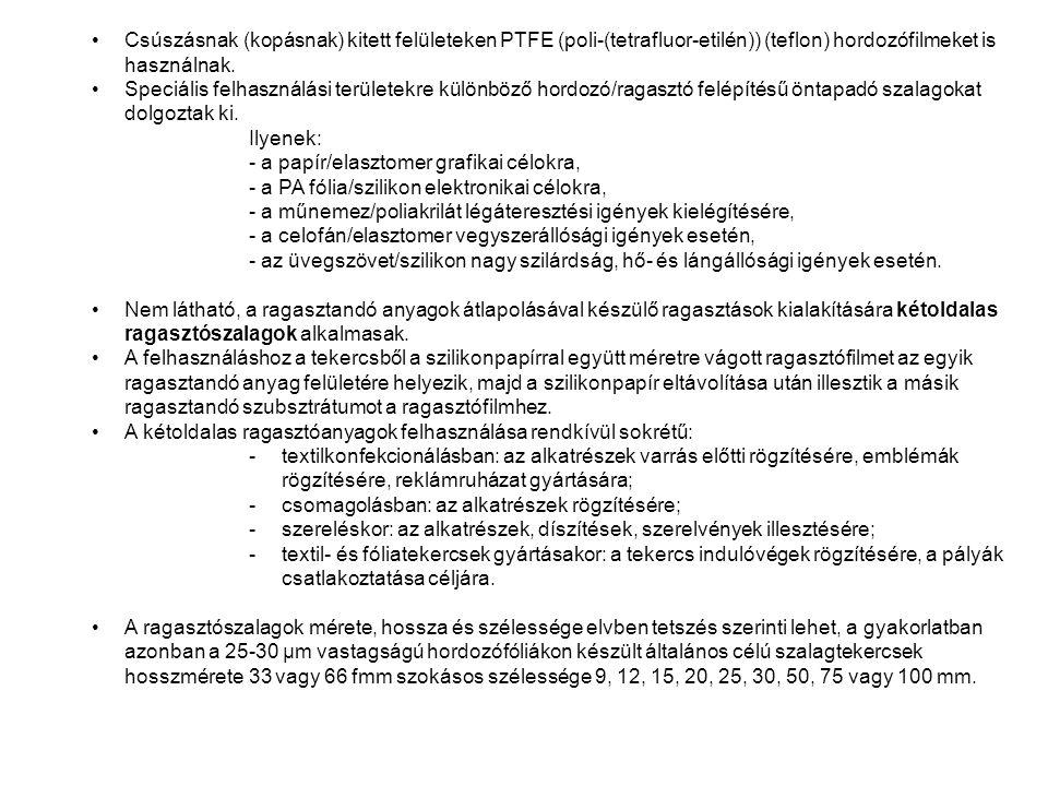 Csúszásnak (kopásnak) kitett felületeken PTFE (poli-(tetrafluor-etilén)) (teflon) hordozófilmeket is használnak. Speciális felhasználási területekre k