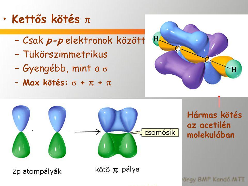 Kettős kötés  –Csak p-p elektronok között –Tükörszimmetrikus –Gyengébb, mint a  –Max kötés:  +  +  Hármas kötés az acetilén molekulában