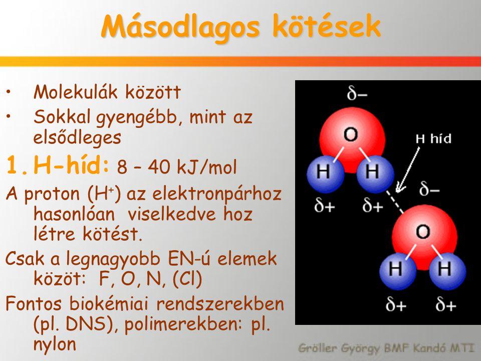Másodlagos kötések Molekulák között Sokkal gyengébb, mint az elsődleges 1.H-híd: 8 – 40 kJ/mol A proton (H + ) az elektronpárhoz hasonlóan viselkedve
