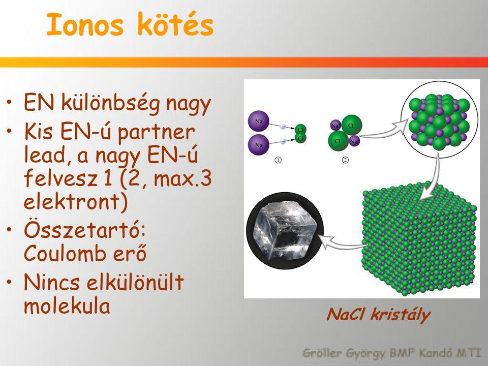 Ionos kötés EN különbség nagy Kis EN-ú partner lead, a nagy EN-ú felvesz 1 (2, max.3 elektront) Összetartó: Coulomb erő Nincs elkülönült molekula NaCl