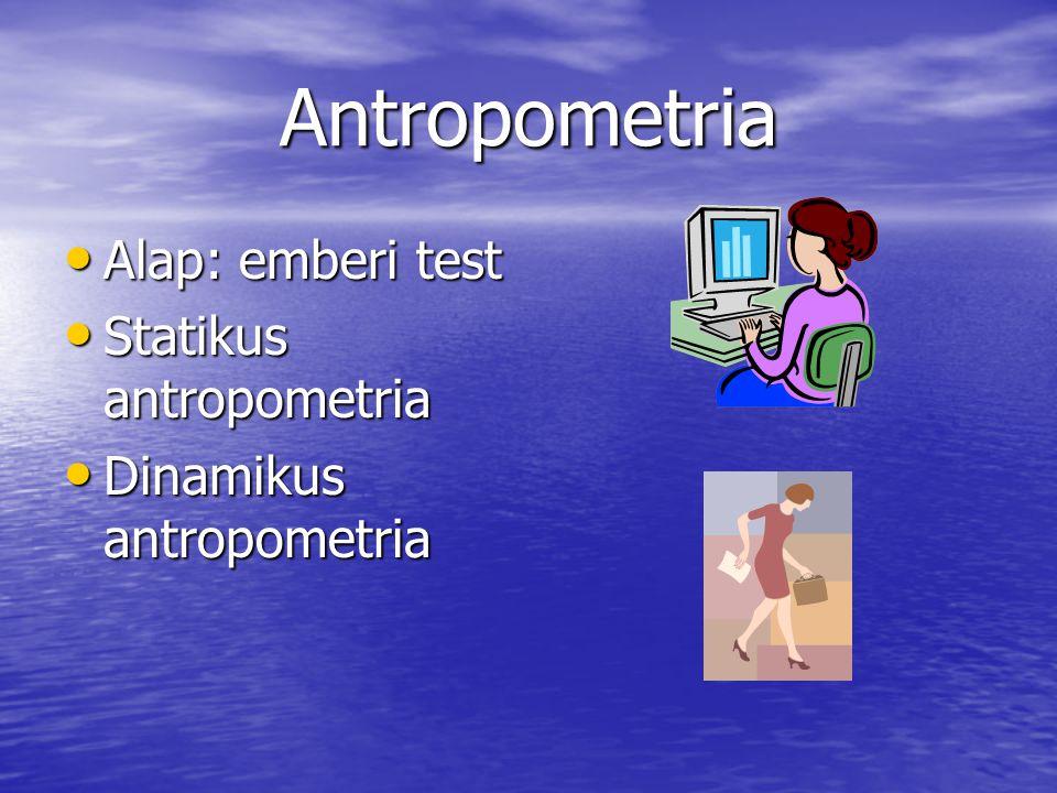 Antropometria Alap: emberi test Alap: emberi test Statikus antropometria Statikus antropometria Dinamikus antropometria Dinamikus antropometria