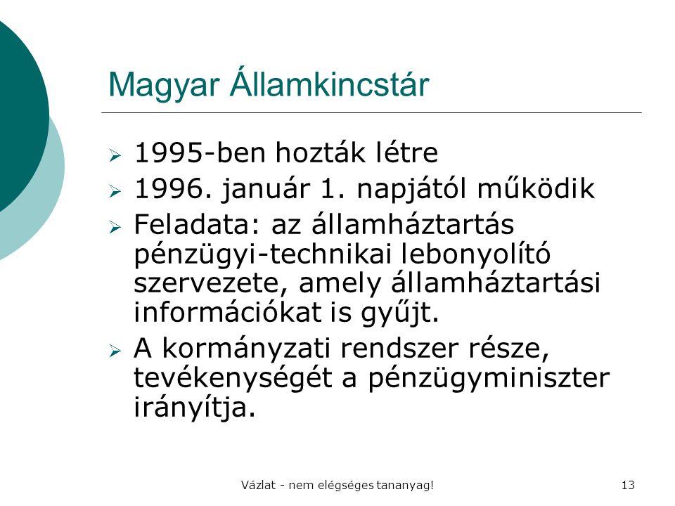 Vázlat - nem elégséges tananyag!13 Magyar Államkincstár  1995-ben hozták létre  1996. január 1. napjától működik  Feladata: az államháztartás pénzü
