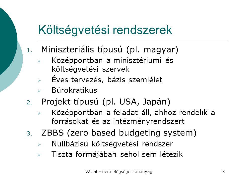 Vázlat - nem elégséges tananyag!3 Költségvetési rendszerek 1. Miniszteriális típusú (pl. magyar)  Középpontban a minisztériumi és költségvetési szerv