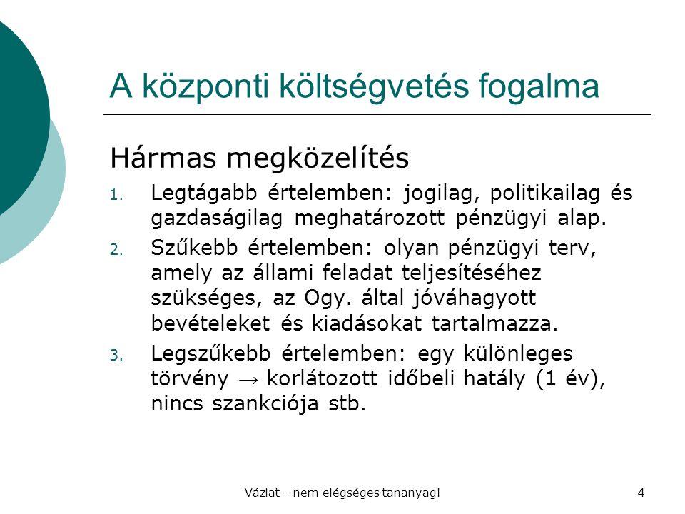 Vázlat - nem elégséges tananyag!4 A központi költségvetés fogalma Hármas megközelítés 1. Legtágabb értelemben: jogilag, politikailag és gazdaságilag m