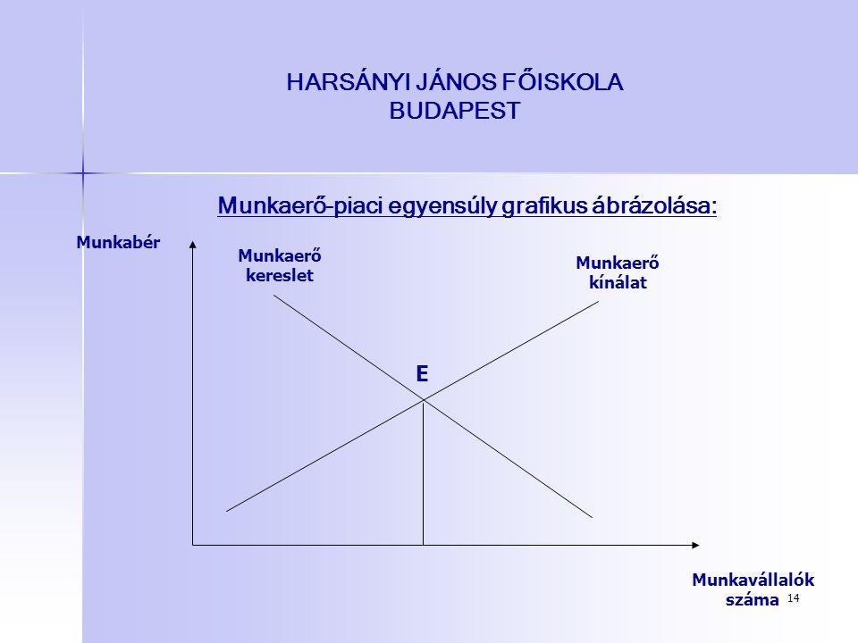 14 HARSÁNYI JÁNOS FŐISKOLA BUDAPEST Munkaerő-piaci egyensúly grafikus ábrázolása: Munkavállalók száma Munkabér E Munkaerő kínálat Munkaerő kereslet